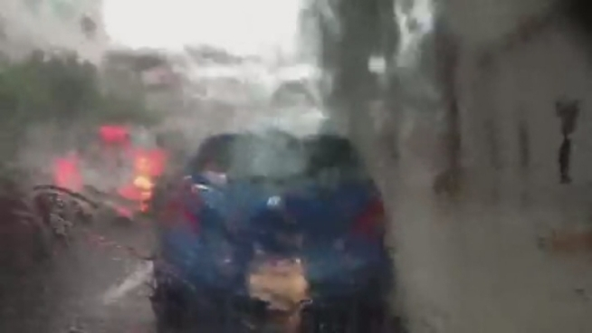 The hail was heavy downtown Friday afternoon, as seen in this video by NBC 6's Diana Gonzalez.