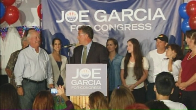 Democrat Joe Garcia addressed supporters Tuesday night after defeating Republican Congressman David Rivera.