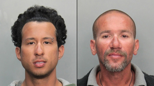 Jonathan Huskey and Warren Hernandez were arrested for the murder of a man whose body was found floating in the ocean at about 69th Street and Miami Beach, police said. A public defender was appointed for both defendants on Monday, and they were both held on no bond.