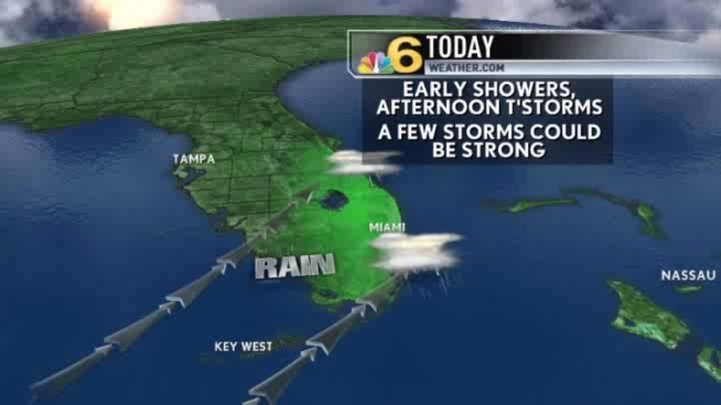 Expect mostly cloudy skies in South Florida Thursday with scattered showers and thunderstorms becoming more dominant in the afternoon hours.