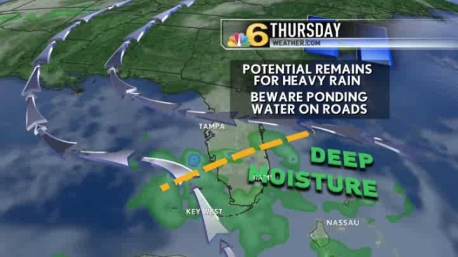Wednesday will bring periodic showers, at times heavy, to all of south Florida.  Meteorologist Shiri Spear has the local forecast.