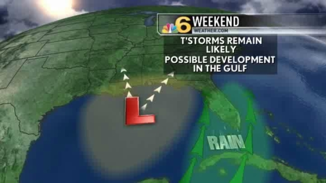 More showers and storms develop as we watch a tropical disturbance enter the Gulf of Mexico