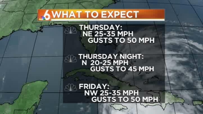A Tropical Storm Watch is in effect for the threat of some strong winds Thursday and Friday...Ryan Phillips has your forecast.
