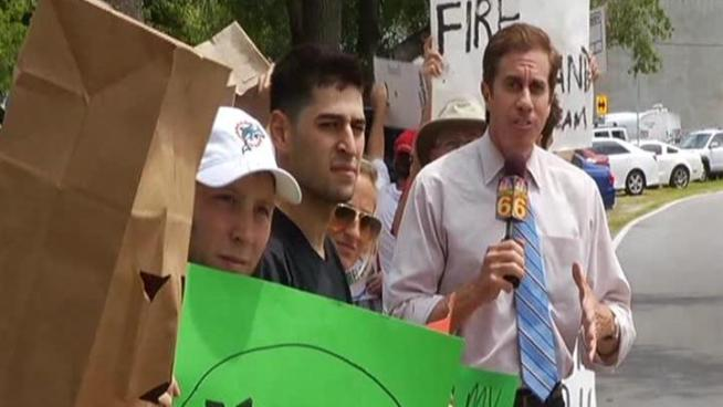 Frustrated and fed up, about three dozen Miami Dolphins fans protested the team's free agent failures just across the street from its Davie training facility Tuesday.