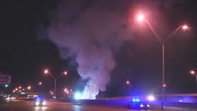 Three people were hospitalized following a violent head-on collision on I-95 in Broward County early Wednesday, authorities said. Florida Highway Patrol spokesman Sgt. Mark Wysocky spoke about the crash.