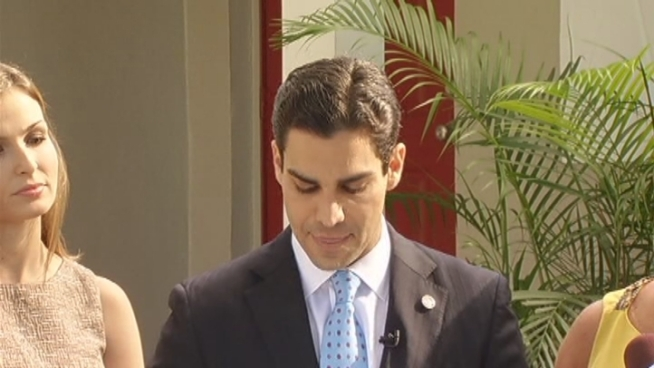 Miami Commissioner Francis Suarez announced Tuesday that he'll take on Miami Mayor Tomas Regalado in the November election. The incumbent defended his record. Xavier Suarez, who is a former mayor, said of his son's chances,