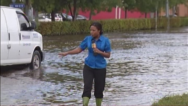 People who live and work in Doral say flooding caused by record rainfall Tuesday is some of the worst they've seen in the last decade. Hear from Richard Sixto, Cesar Cajiga and resident Cesar Martinez.