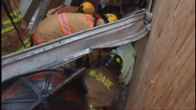 Miami-Dade's rescue experts went into action and searched the collapsed parking garage site for trapped workers. They were able to free one man and move him out for a trip to the hospital. Miami-Dade Fire Rescue Capt. Louie Fernandez and Miami Dade College spokesman Juan Mendieta provides updates from the scene.