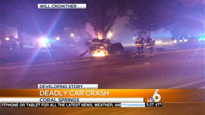 1 dead after car slams into tree, catches fire in Coral Springs