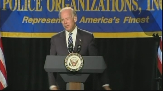 Joe Biden spoke at the annual convention of the National Association of Police Organizations in Florida on Monday. His 18-minute speech focused mainly on the victims of the Colorado movie massacre.
