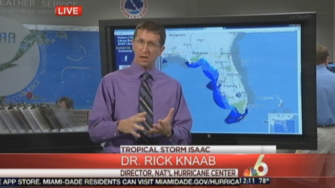 Hurricane Center Director Rick Knabb talks to NBC 6's Ryan Phillips about the path of Tropical Storm Isaac during extended coverage.
