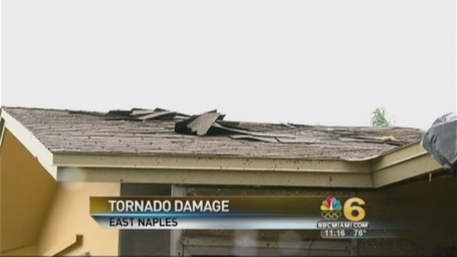 A tornado was reported in Naples Saturday that cause damage to cars and trees. No injuries were reported, officials said.