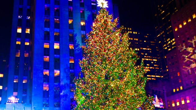 Watch as the 80-foot Christmas tree at Rockefeller Center is lit up with 45,000 LED lights.