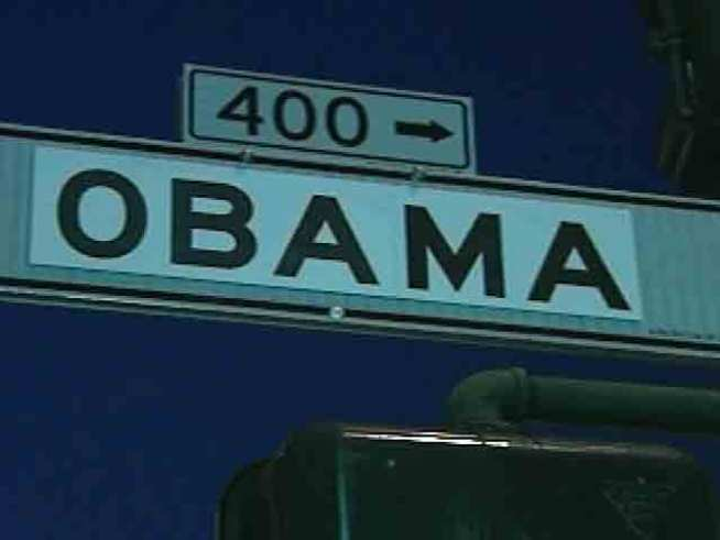 Obama Signs Take Over Bush St. in SF