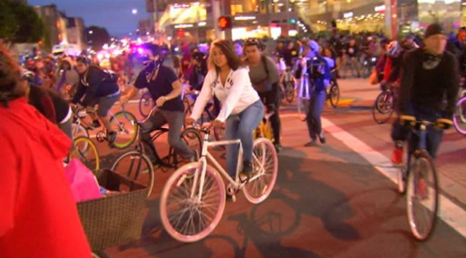 Critical Mass Ties Up Traffic On MIami Beach Friday Night