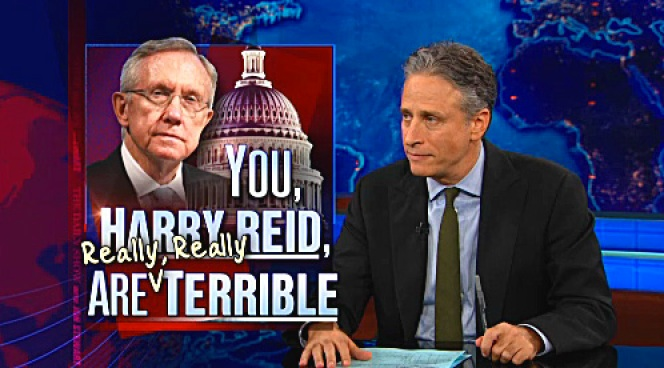 Stewart Rips into Reid, Channels Ghost of Romney's Father