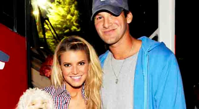 Tony Romo Blocks Jessica Simpson From Home