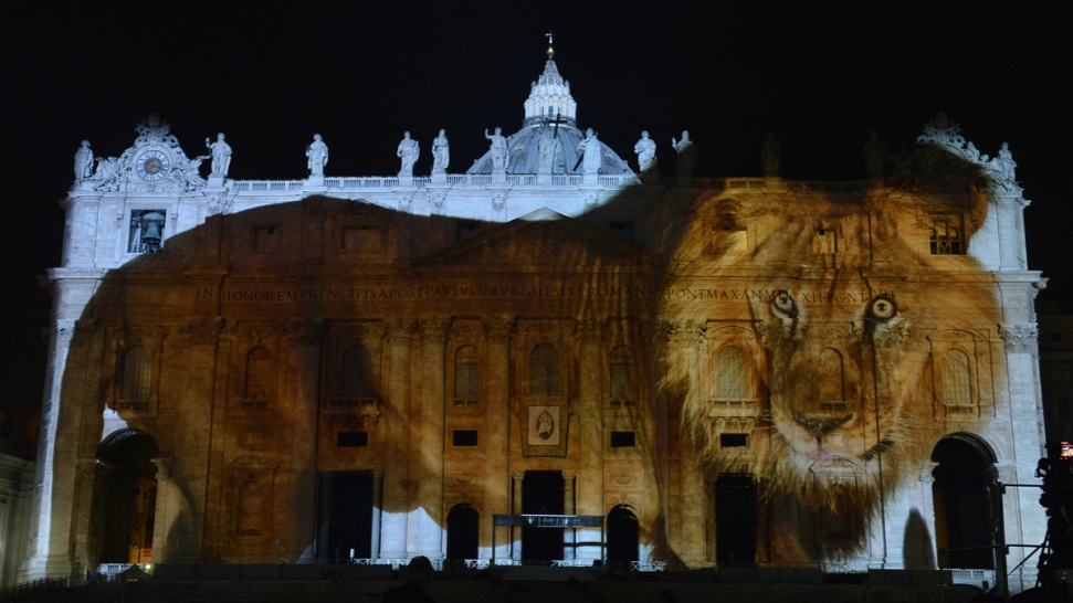 Giant animals light up Vatican for environment show
